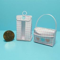 Dollhouse Miniature Baby Diaper Bag & Nursery Hanging Diaper