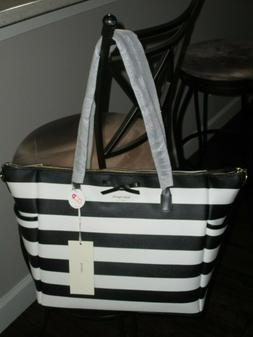 Kate Spade New York Eden Street Black Cream Stripe Adaira Ba