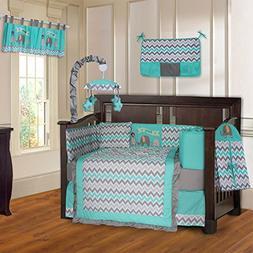 BabyFad Elephant Chevron Turquoise 10 Piece Baby Crib Beddin