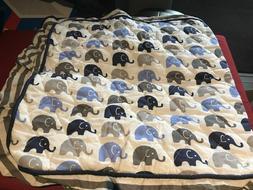 Bacati Elephants Blue/Grey Blue Mini Elephants Changing Pad