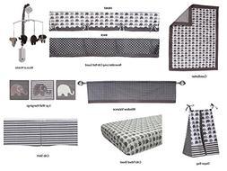 Bacati Elephants Unisex 10 Piece Nursery-in-A-Bag Crib Beddi