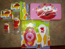 Elmo Baby lot Bottles Teether Brush and Comb Set Diaper Wipe
