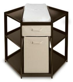 Espresso Dark Brown Diaper Corner Wooden Baby Changing Table