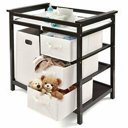 Espresso Infant Baby Changing Table w/3 Basket Hamper Diaper