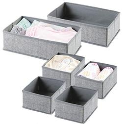 mDesign Fabric Nursery Storage Organizer Set for Baby Clothe