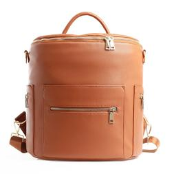 Faux Leather Designer Diaper Bag with Backpack and Convertib
