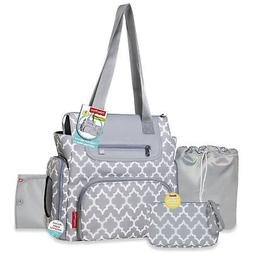 Fisher Price Deluxe Tote Diaper Bag Set - Gray and White