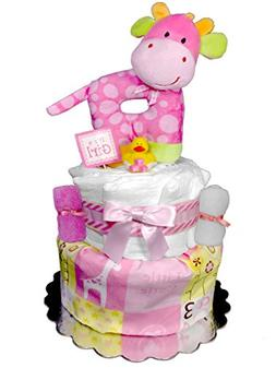Giraffe Diaper Cake - Baby Shower Gift - Girl Centerpiece -