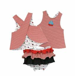 Stephan Baby Girl Boat Reversible Top & Ruffled Diaper Cover