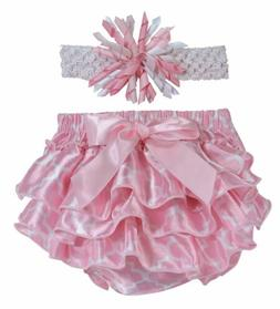 Stephan Baby Girl Pink Shabby Rose Diaper Cover & Headband S