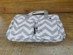 Trend Lab Gray and White Chevron Deluxe Duffle Diaper Bag