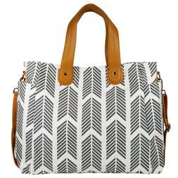 Gray Arrows Weekender Tote Bag by White Elm - Large Diaper T
