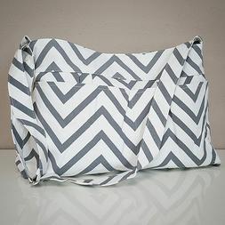 Gray Chevron Tote Bag by White Elm- Diaper Nappy Canvas Grey