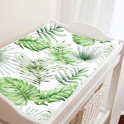Carousel Designs Green Painted Tropical Changing Pad Cover -