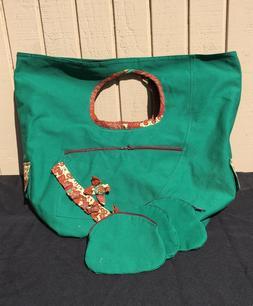Green Travel Bag - Oversized Handmade Diaper/Overnight Purse