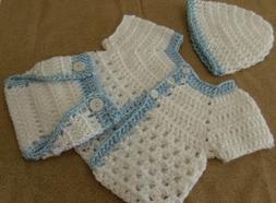 Handmade Crochet Baby Boy Sweater,Hat, Diaper Cover 3 piece