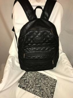 """Honest Co City Backpack Quilted Black Faux Leather 17""""H x"""