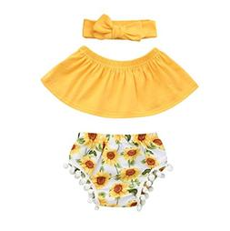 FEITONG Infant Baby Girls Sun Flower Printed Off Shoulder To