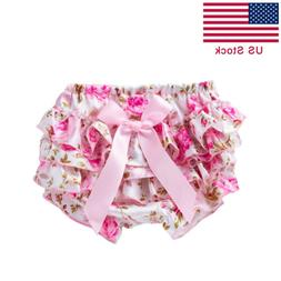 US Infant Baby Girls PP Pants Newborn Satin Shorts Ruffle Di