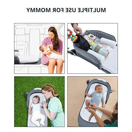 4 1 Portable | Baby | with Light and Lounger Crib Cot As Diaper Bag Seat Tummy Folding Crib