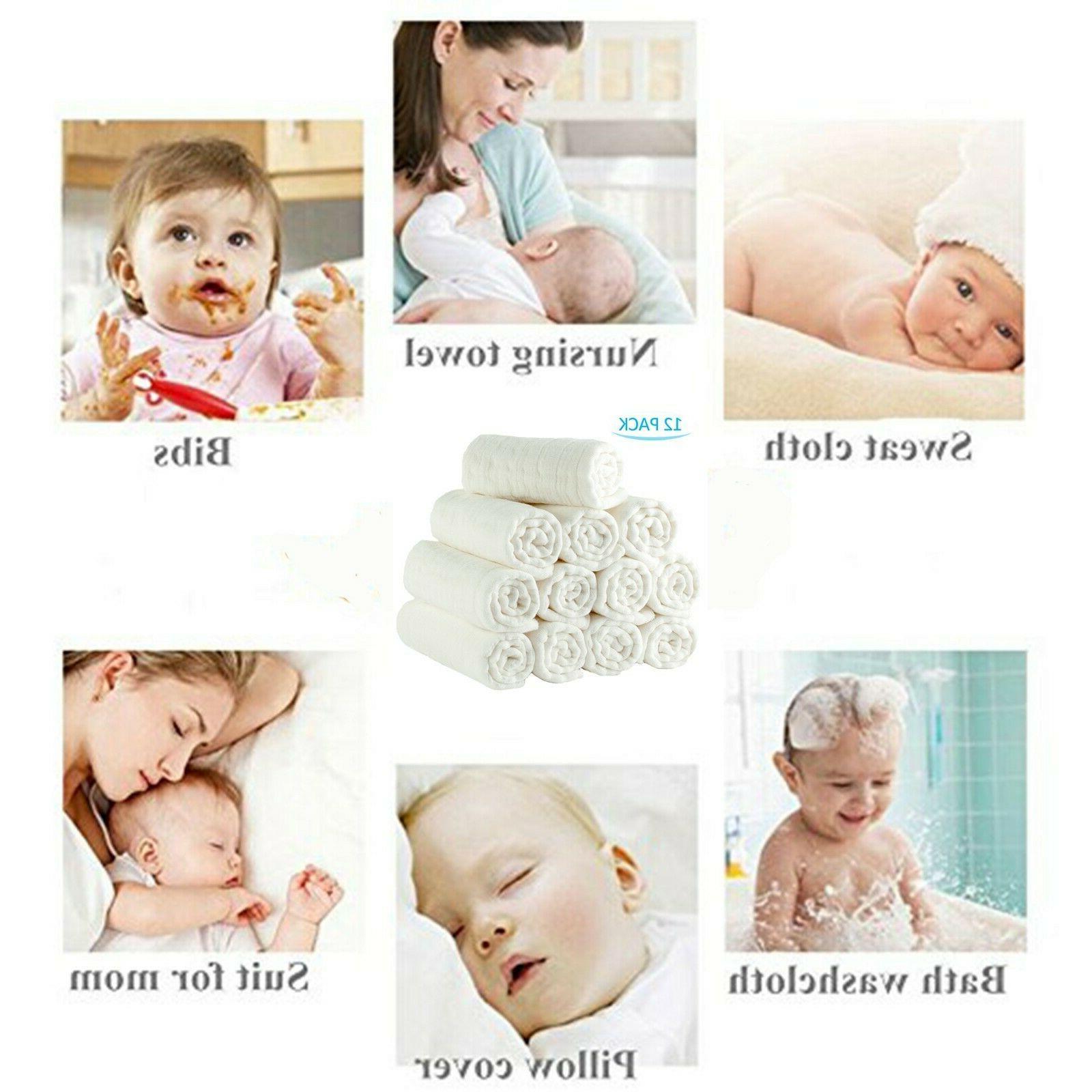 100% Cotton Baby 12 Cloth Diaper 6 Layer Gauze