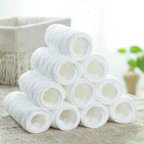 10PCS Cotton Cloth Baby Diapers Inserts Liners 3 Layers Reus
