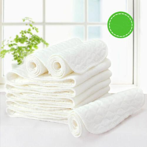 5~50PCS Cotton Cloth Baby Diapers Inserts Liners 3 Layers Re