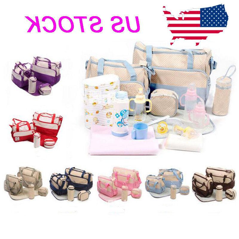 5 Pcs Baby Changing Diaper Nappy Bag Mum Handbag Multi-funct