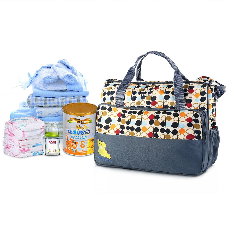 5 Baby Diaper Nappy Bag Mother Handbag Set
