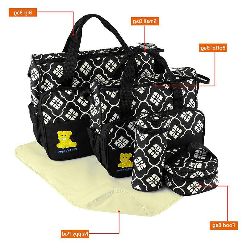 5pcs Mommy Handbag Nappy Bag Bottle Mat