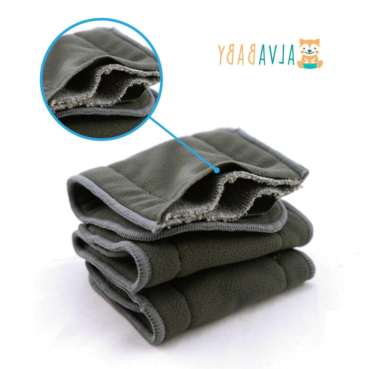 6pcs reusable 4 layers charcoal bamboo inserts