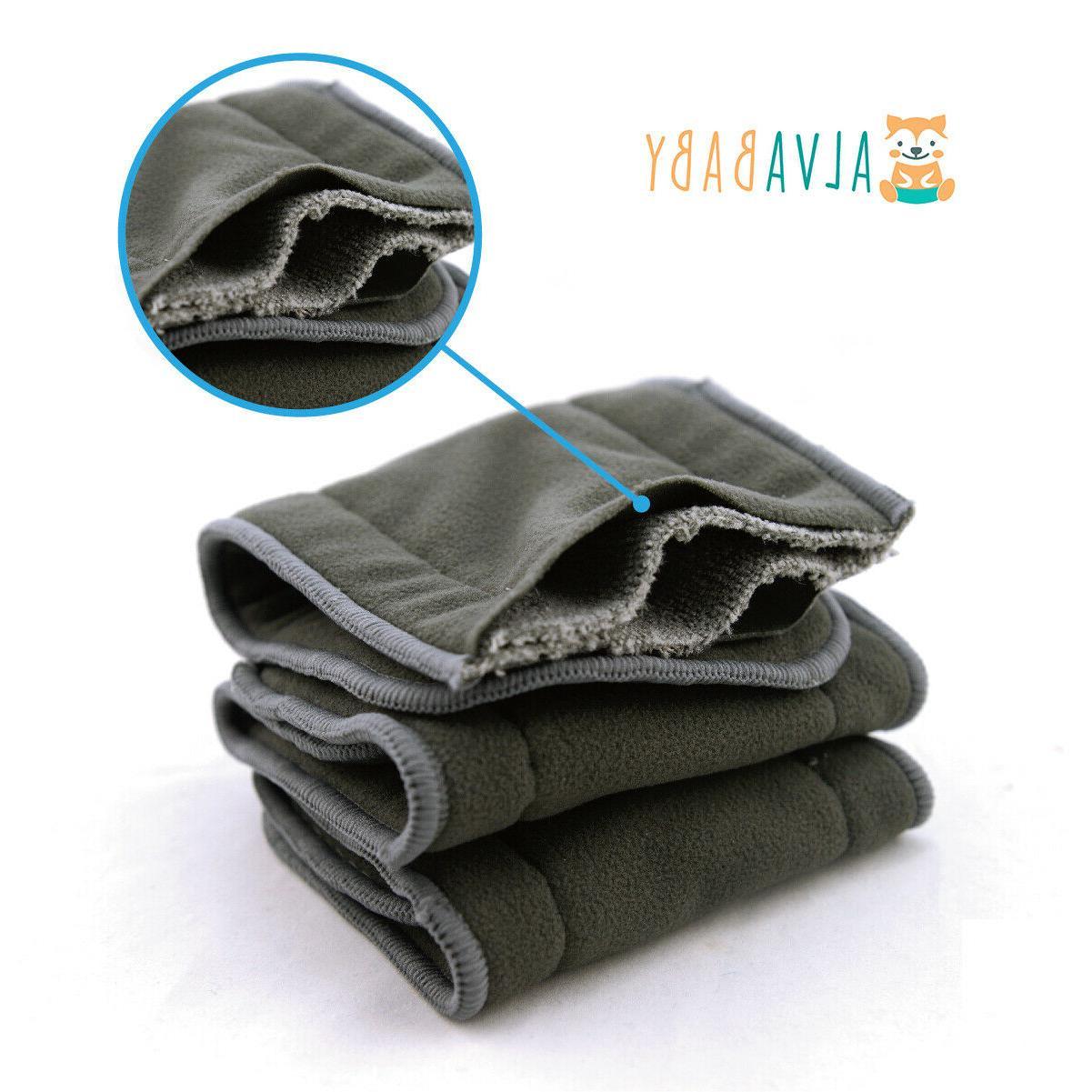 6pcs reusable 4 layers charcoal bamboo inserts