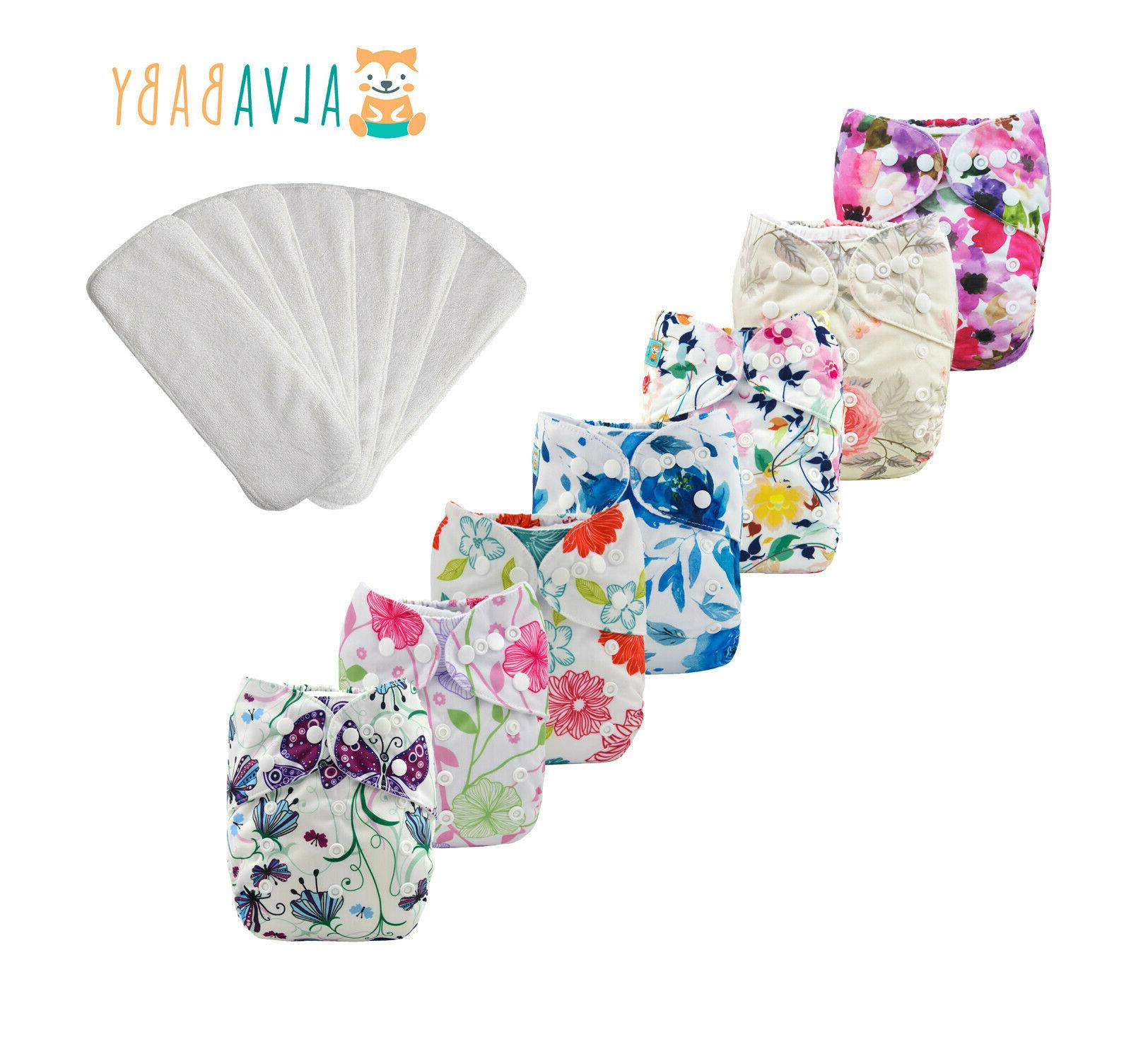 7pcs baby cloth diapers reusable washable pocket