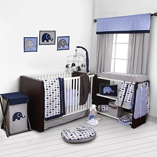 Elephants Blue/Grey 10 pc Crib Set Bumperfree