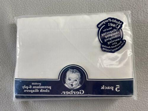 Gerber 5pk Prefold Premium 6-ply Cloth Diapers White