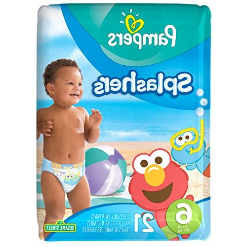 Pampers Splashers Disposable Swim Diapers, Size 6, 21 Count,