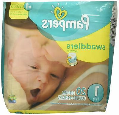 Pampers Swaddlers Diapers, Size 1, 20 Count Pack of 4