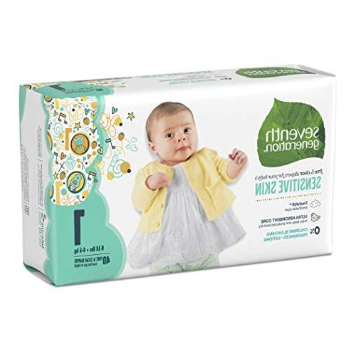 Seventh Baby Diapers, Free & Clear Sensitive Prints, 1, 40 count