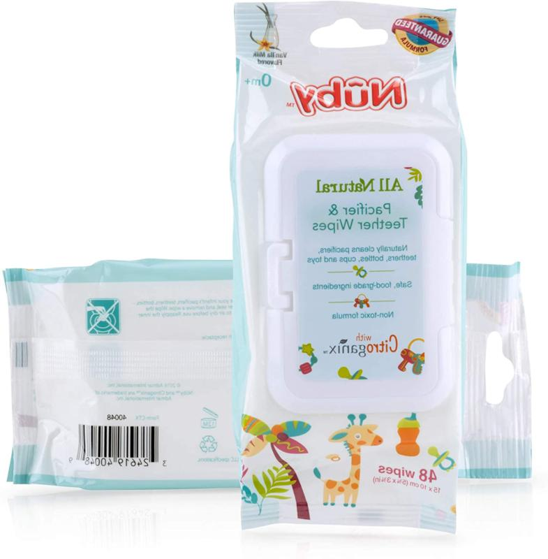 Nuby All Natural Pacifier And Teether Wipes,Vanilla Milk