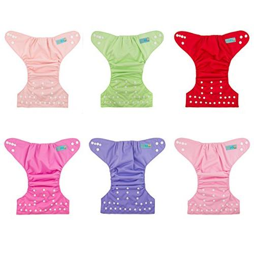 ALVABABY Baby Cloth Diapers 6 12 Inserts Adjustable and Reusable Pocket Baby Girls