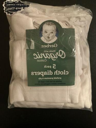 baby 5 pack organic prefold gauze cloth