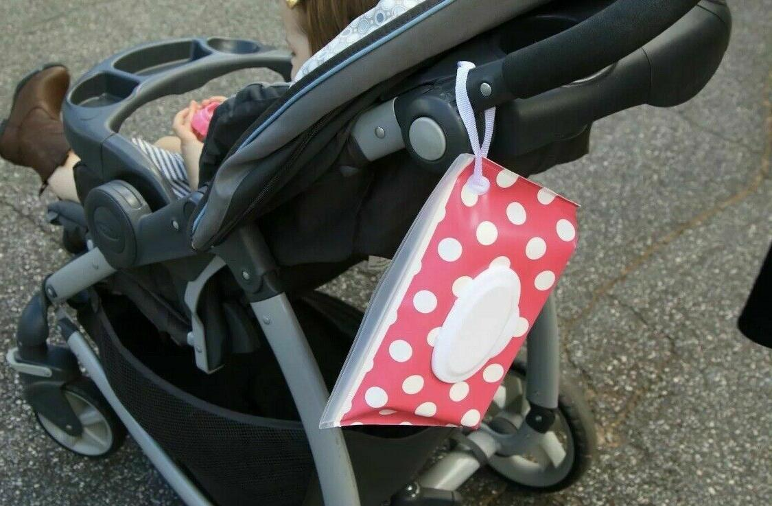 Pack of Baby Carrying Case Bag, Wet Wipes Snap Strap