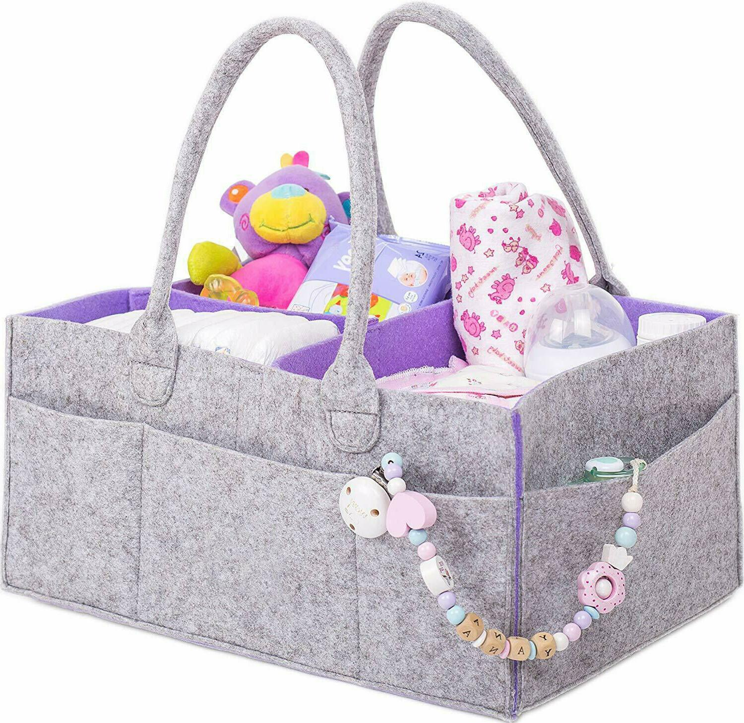 baby diaper caddy organizer with changing mat