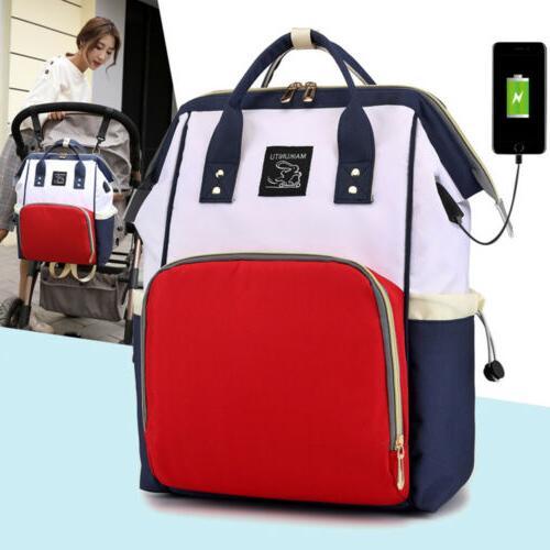 Large Diaper Nappy Mummy Changing Bag USB Backpack