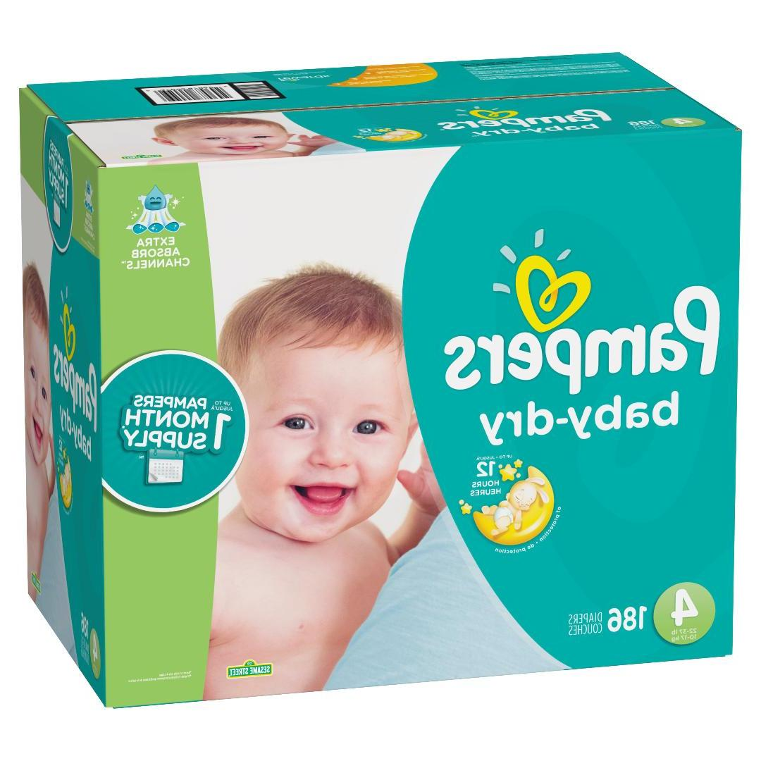 baby dry diapers 186 count size 4