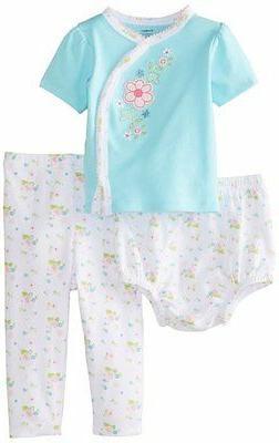 Gerber Baby Girl 3 Pc Set Shirt Pants Diaper Cover-Aqua Flow