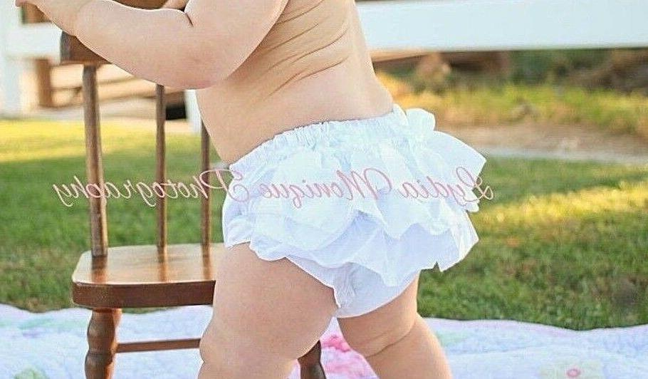 baby girl white diaper cover ruffle bloomers