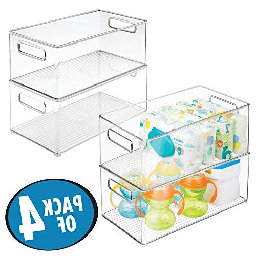 mDesign Stackable for Supplies in Kitchen, Nursery, Playroom - BPA Free Holds 4 -