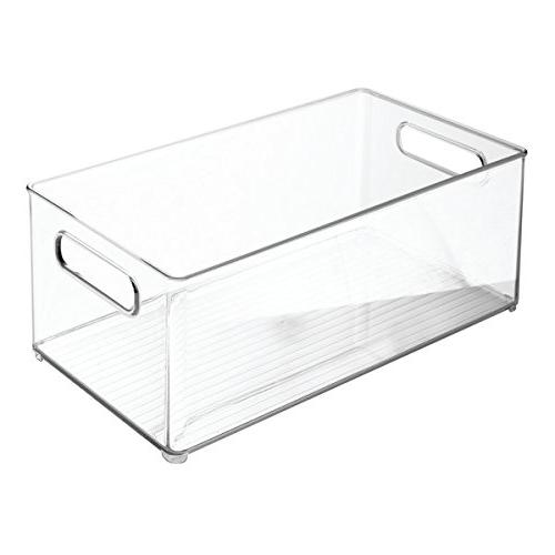 mDesign Stackable Container Bin with Kitchen, - BPA Free Holds Food - 4 Clear