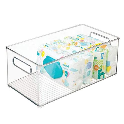 mDesign Stackable Storage Container with for in Kitchen, Playroom - BPA Free - Holds Food Long, 4 -